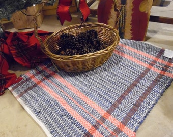 Handwoven Recycled Denim Throw Rug