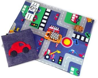 Car toy playmat. children's car play mat road travel kids play mat toy car mat fold up playmat travel playmat roll playmat carry toy CE mark