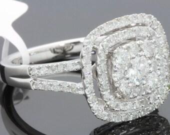 10K white gold 1.17 carat womens real diamond engagement ring bridal wedding ring