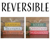 Fall Decor, Christmas Decor, Wood Fall Decor, Wood Christmas Decor, Grateful Thankful Blessed, Reversible Decor, Fall Christmas Stackers