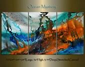 Triptych LARGE ABSTRACT PAINTING, Wall Art, Large Abstract Art, Original Modern Art on Canvas Orange Blue artwork Dallas Artist Maitreyii