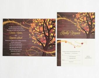 Autumn Wedding Invitation Fall Wedding Invitation Autumn Wedding Wedding Invites RSVP Card Fall Tree Wedding Invitation Rustic Fall Wedding