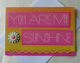 Greeting Card, 5x7, You Are My Sunshine, All Occasion, Lace Edge, Blank Inside