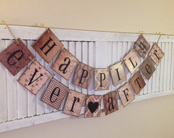 Wedding Banner Anniversary Bunting Garland Sign Shabby Distressed Happily Ever After Photo Prop