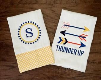 Burp Cloth. Baby Burp Cloth. Cloth Diaper. Diaper Burpcloth- OKC Thunder  - Baby Shower- Baby Gift - Newborn