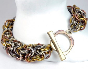 "Mixed Metal ""Byzantine"" Chain Maille Bracelet with Toggle Clasp"
