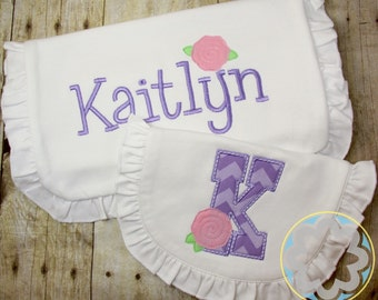 Baby Girl Gift Set - Monogrammed, Personalized Ruffle Bib and Burp Cloth - Baby Gift - Baby Shower Gift