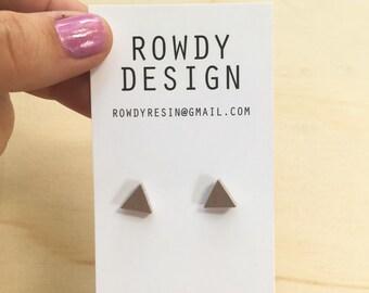 Triangle Stud Earrings - Gold