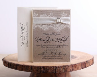 Lace Wedding Invitations, Champagne Wedding Invitations, Ribbon Wedding Invitations, Lace and Ribbon Wedding Invitations