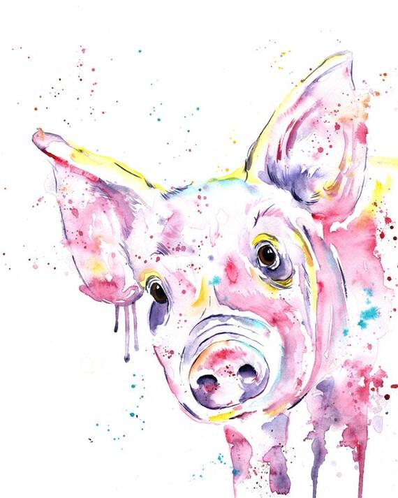 Pig Print Pig Art Pig Painting Pig Watercolour Farm Art