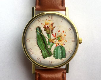 Vintage Cactus Watch, Succulents, Custom Watch, Ladies Watch, Men's Watch, Vintage Watch, Cute Watch, Horticulture, Gardening Gift