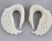 00 G White Swan Earrings -  Bone 10mm Swan Hanger Earrings - 10 mm White Earrings - 00g White Hanger Earrings - spirit animal earring *C045