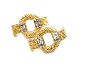 Gold Tone Rhinestone Earrings Vintage Costume Jewelry Designer Signed Bridal Prom Pierced Estate Find  1980s