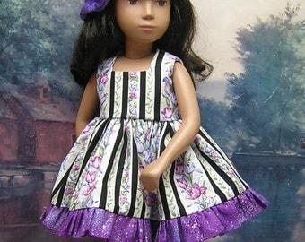 2-piece Purple Cotton Print Dress Set to fit 17 inch Sasha dolls