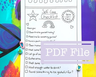 A4 Self-Care Checklist Printable - Teachers Resource - PDF - Illustration