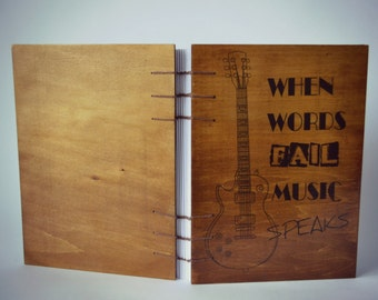 Coptic Stitched Wooden Journal/Plywood Notebook/ Guitar Journal/Musical Journal/Journal With Wooden Covers/Hand Bound Book/Blank Diary