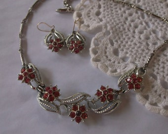 Vintage 1950s Coro Pink Flower Rhinestone Jewelry Set, Fabulous 50s Demi Parure Necklace and Pierced Earrings, Silver tone metal, Stunning