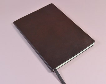 Handmade Burgundy Leather Notebook Journal A5 With Lined Pages.