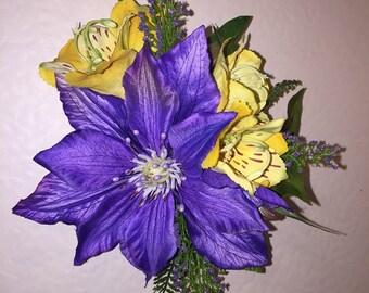CLEMATIS AKELA-Hawaiian hair clip,Tropical flowers,Hula flowers,Pinups hair clip,Pageants,Beach wedding,Hawaii brides,Purple,Clematis,Hawaii