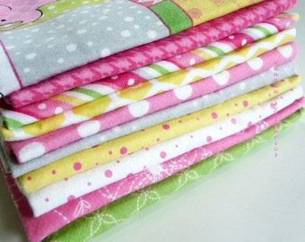 Pink Flannel Fat Quarter Bundle of 10, Little One Flannel Too, Maywood Studio, Kim Christopherson, Baby Girl Flannel Bundle, Pink, Yellow