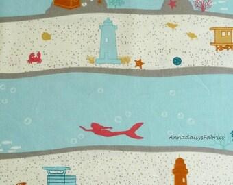 Nautical Fabric, Birch Fabrics Organic Cotton, Beyond the Sea, Jay-Cyn, B-2 Dive Stripe, Ocean Fabric, Organic Quilt Fabric, Undersea Fabric
