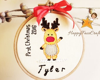 Baby's First Christmas Ornament, Baby ornament, Deer Baby Personalized Christmas Ornament, Christmas Hoop Art / Tree Ornament