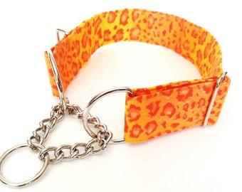 "Leopard Print Martingale Collar, Greyhound Dog Collar, Martingale Chain Dog Collar 1.5"" Wide"