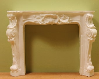 DOLLHOUSE MINIATURE Small Ornately Carved Fireplace
