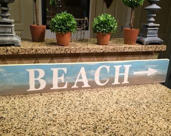 "BEACH farmhouse sign. Fixer Upper. Rustic. Modern Farmhouse. Primitive. Barn Wood. Reclaimed Wood. Chalk Paint. Distressed sign. 36"""