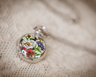 Le Jardin (Pocket Watch) Necklace. Butterfly Garden.