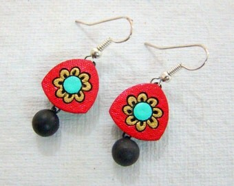 Earrings Terracotta Clay Red-West Bengal Jewelry Art of East India-Indian Handicraft-Handmade Earring-Terracotta Jewelry-Indian Earring