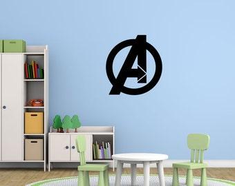 Avengers Superhero Logo Symbol Marvel Comics Vinyl Wall Decal for Kids Boys Rooms