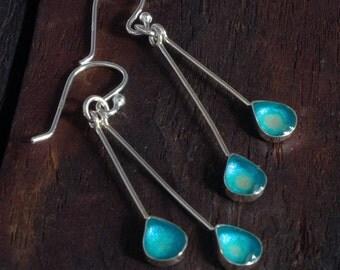 Silver Drop Earrings - Aqua Blue/Silver
