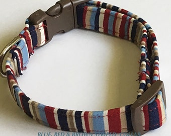 Blue, Red & Brown Striped Male Dog and Cat Collar