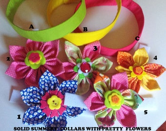 Pink, Yellow or Green Summery Collar with Choice of Collar Flower