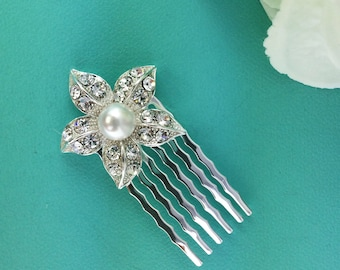 Small Pearl Bridal Comb, Rhinestone Comb, Bridal Comb Crystal, Wedding Hair Comb, Hair Comb, Wedding Accessory, Bridal Headpiece 253717400
