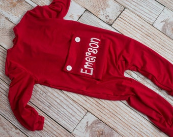 Embroidered Christmas Little Boy's and Baby Personalized Long John Pajamas with Bottom Flap