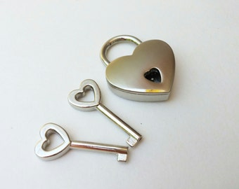 Heart Shaped Nickel Padlock Closure, Working Padlock, TWO Sizes Available