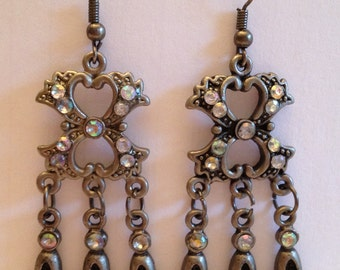 Antiqued Silver Tone Rhinestone Marcasite Dangle Earrings, Art Deco Dangle Earrings, Baroque Dangle Drop Earrings, Marcasite Earrings
