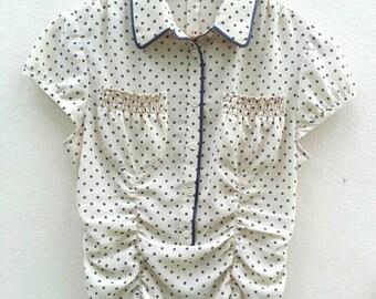 Vintage 70s DKNY Polka dot   Chiffon blouse Size 6