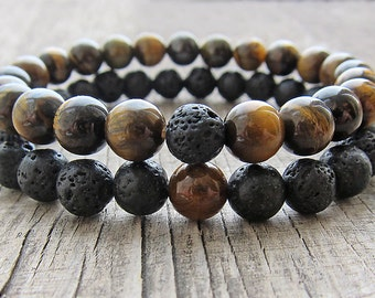 Men's bracelets set Double bracelet set Gifts for him Beaded bracelets Men jewellery Lava bracelet Tiger eye bracelet Gift ideas for men