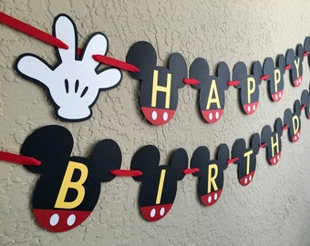 Mickey Mouse Birthday Banner, Mickey Mouse Ears, Mickey Birthday Party, Mickey Birthday Banner, Mickey Mouse Invitations