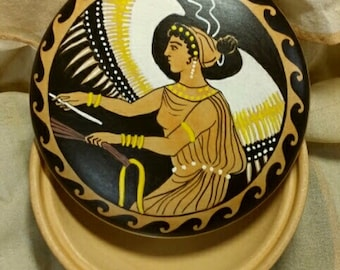 Round clay box. Hand painted. Greek ornamentation with winged Victory (Nike). Jewelry box