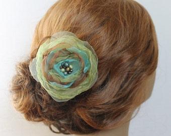 Green Hair Clip Wedding Hair Comb Hair Accessories Green Flower Organza Flower Wedding Headpiece Hair Accessories