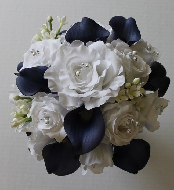 navy blue wedding flowers navy blue wedding bouquet navy blue calla bouquet navy 6124