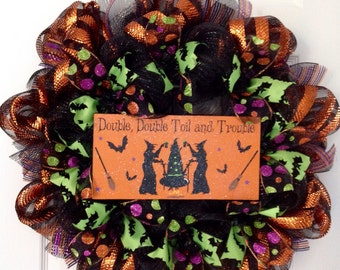 Double Double Toil And Trouble Deco Mesh MacBeth Halloween Wreath