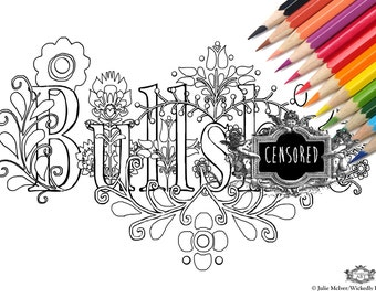 bullsht swear word diy print at home digital download colouring page adult coloring