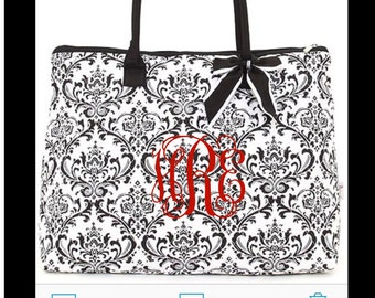 Black and White Damask Tote with FREE Monogram
