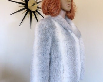 Vintage 60s faux fur jacket - white and gray stylish beauty!  A Stanley's Creation of Melbourne