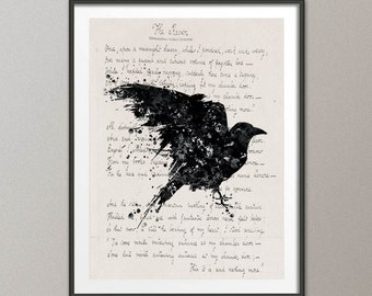 Crow The Raven Poem Edgar Allen Poe Nevermore Watercolor Painting Print  Ravenclaw  Wall Decor Art Home Decor Wall Hanging [NO 350]